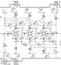 an equivalent electrical circuit representation of an ac qhe resistance standard with [ 1298 x 1222 Pixel ]