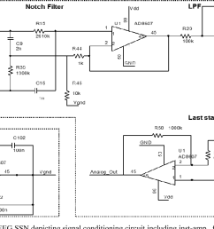 schematic of drl less afe of eeg ssn depicting signal conditioning circuit [ 1388 x 644 Pixel ]