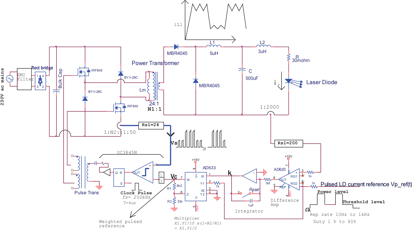 hight resolution of realization of pulsed laser diode current drive with steady average value