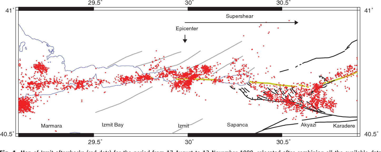 hight resolution of map of izmit aftershocks red dots for the period from