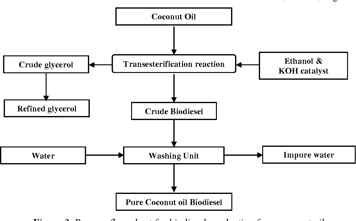 hight resolution of process flow chart for biodiesel production from coconut oil