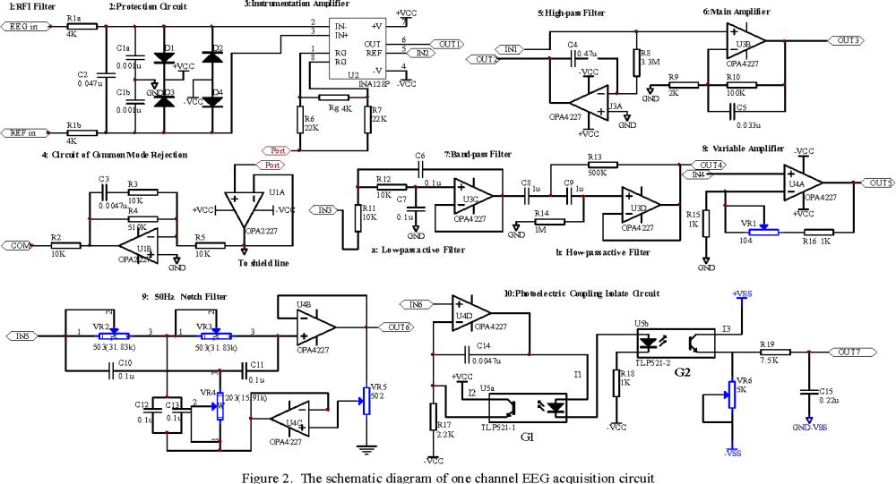 medium resolution of the schematic diagram of one channel eeg acquisition circuit