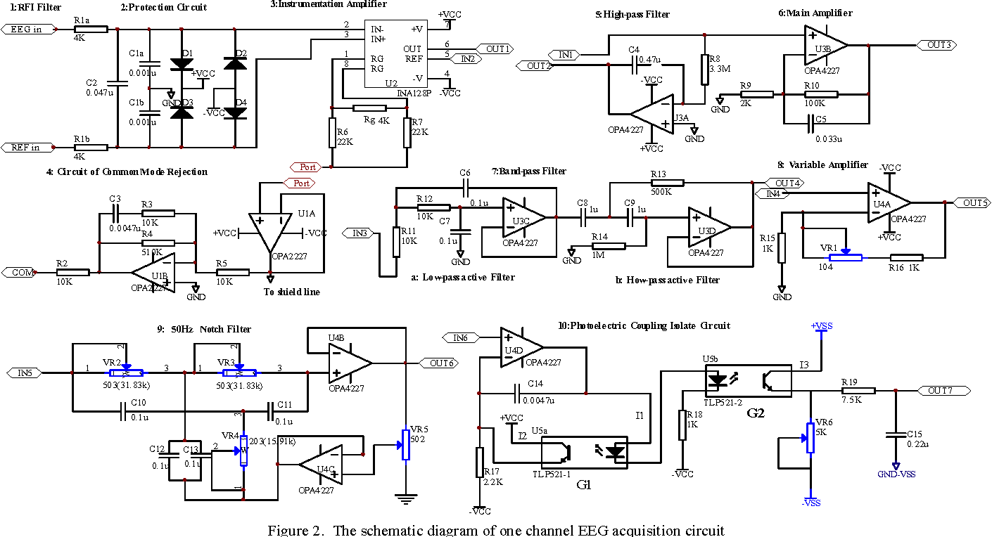 hight resolution of the schematic diagram of one channel eeg acquisition circuit