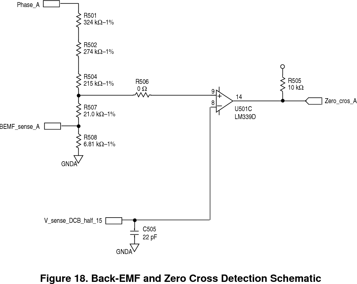 hight resolution of back emf and zero cross detection schematic