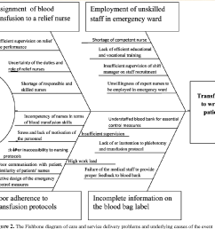 the fishbone diagram of care and service delivery problems and underlying causes of [ 1302 x 1116 Pixel ]