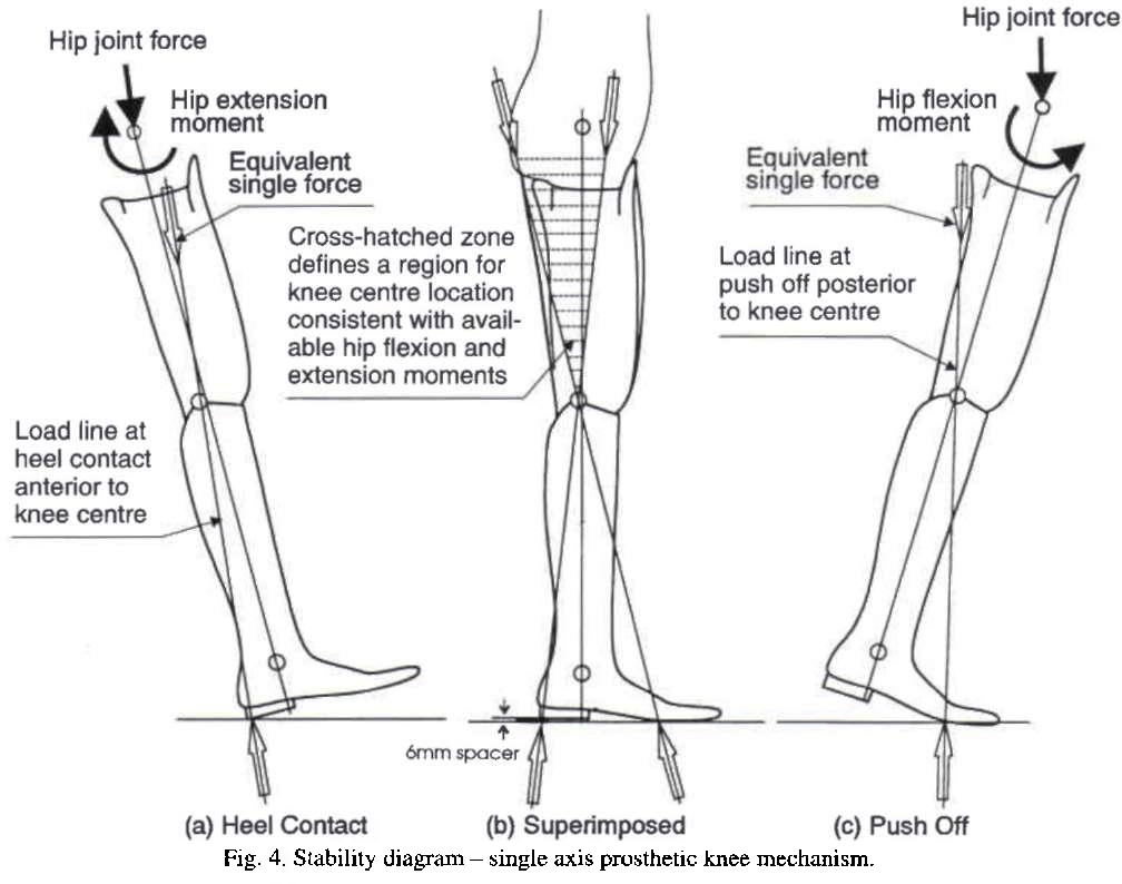 hight resolution of stability diagram single axis prosthetic knee mechanism