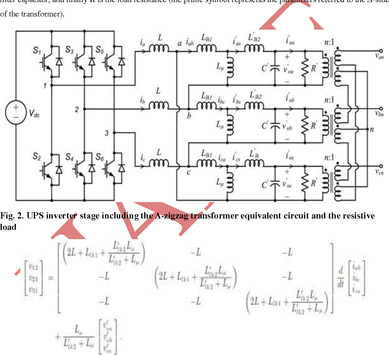 hight resolution of ups inverter stage including the zigzag transformer equivalent circuit and