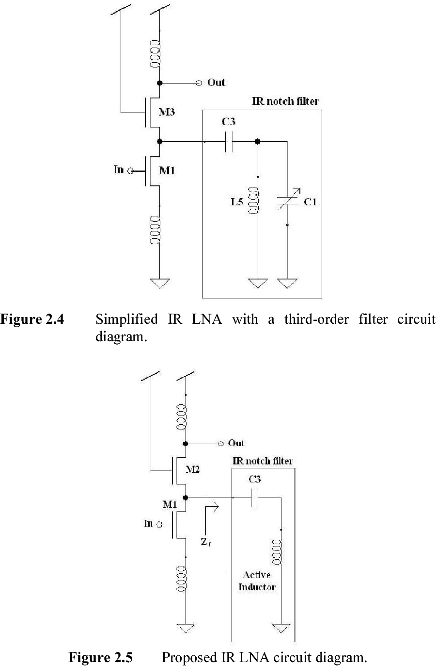 medium resolution of figure 2 4 simplified ir lna with a third order filter circuit diagram