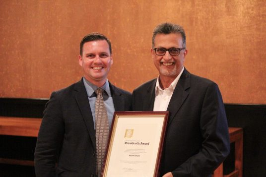 AIA Central PA President, Dan Godfrey and President's Award Recipient, Kazim Dharsi