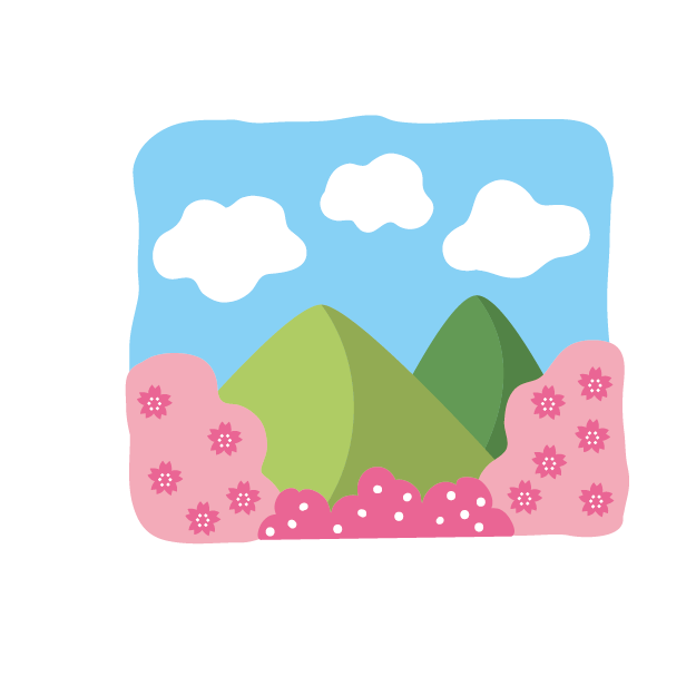 桜と山並みイラスト