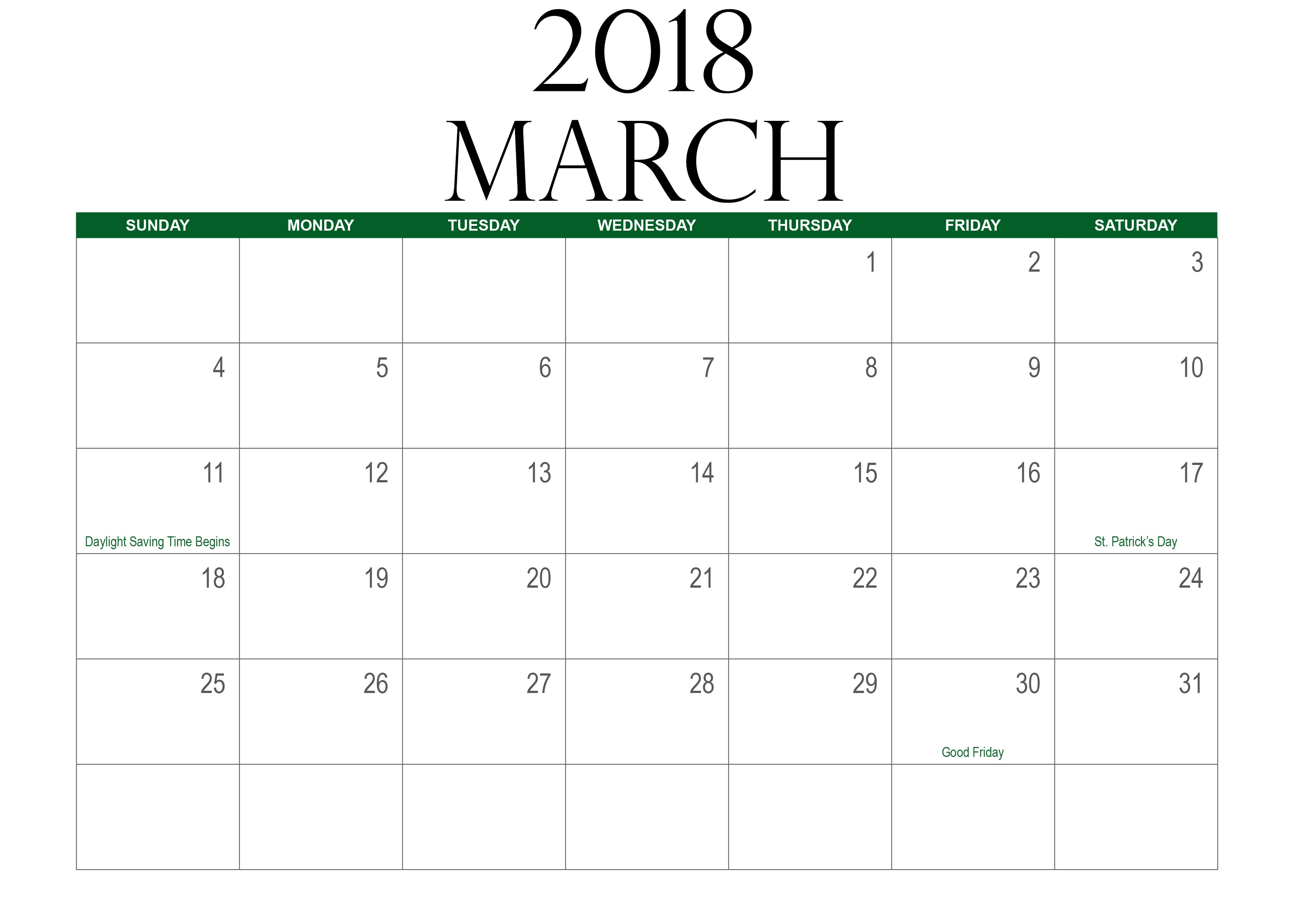 Blank March Calendar Printable Free Download