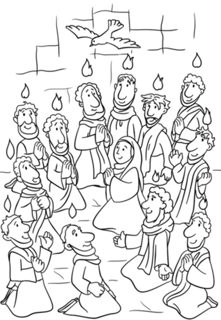Pentecost Coloring Pages For Kids, Preschoolers