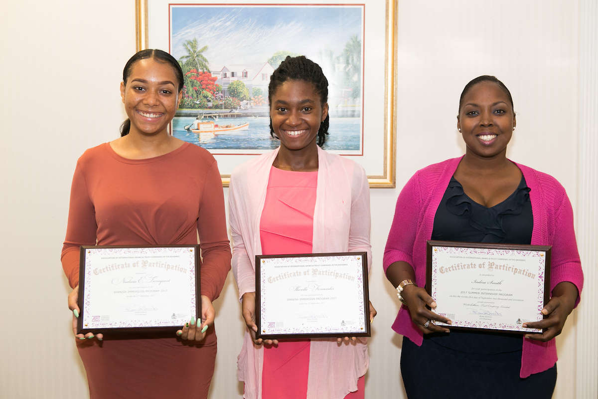 From L-R: Noelicia E. Turnquest, Spanish Immersion Student; Sherelle Fernander, Spanish Immersion Student; Indira Smith, Summer Internship Student (Winterbotham Trust);