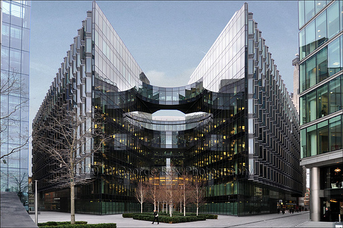 A photograph of PwC's headquarters in London
