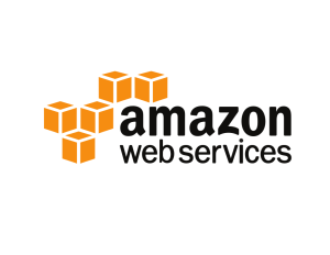 Amazon Web Services logo. Black text, orange cubes.