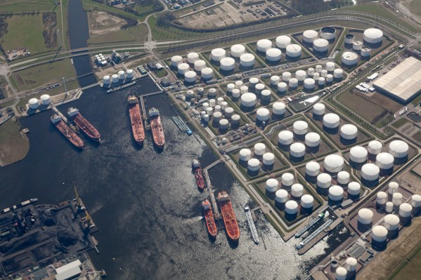 Aerial view of the harbour Rotterdam Pernis Holland with petrochemical industry