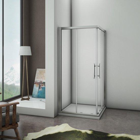 aica porte de douche coulissante 75x75x195cm cabine de douche porte coulissante paroi de douche acces d angle verre securit aica grand choix au