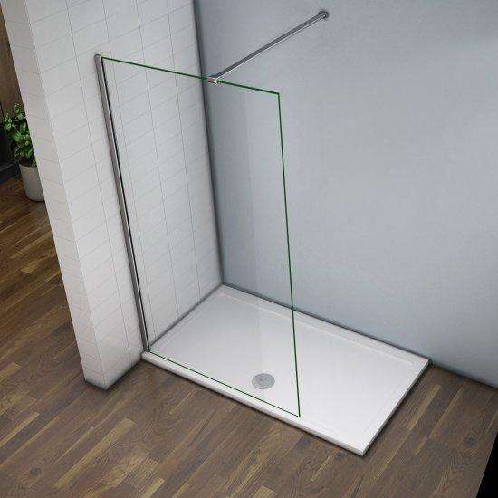 aica 120x200cm 8mm paroi de douche en verre anticalcaire avec barre de fixation 140cm agrandir l image