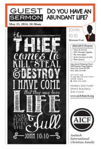 5.25.2014 - John 10:10 - Do You Have an Abundant Life? (Missionary Kwak)