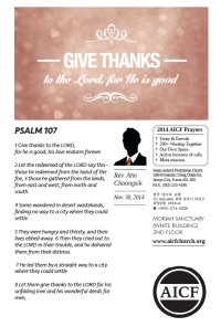 11.30.2014 - Psalm 107:1-8 - Give Thanks to God (Rev. Ahn Choongsik)