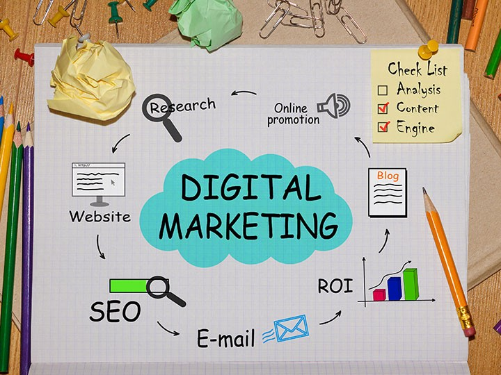 Notebook with Tools and Notes aboun Digital Marketing
