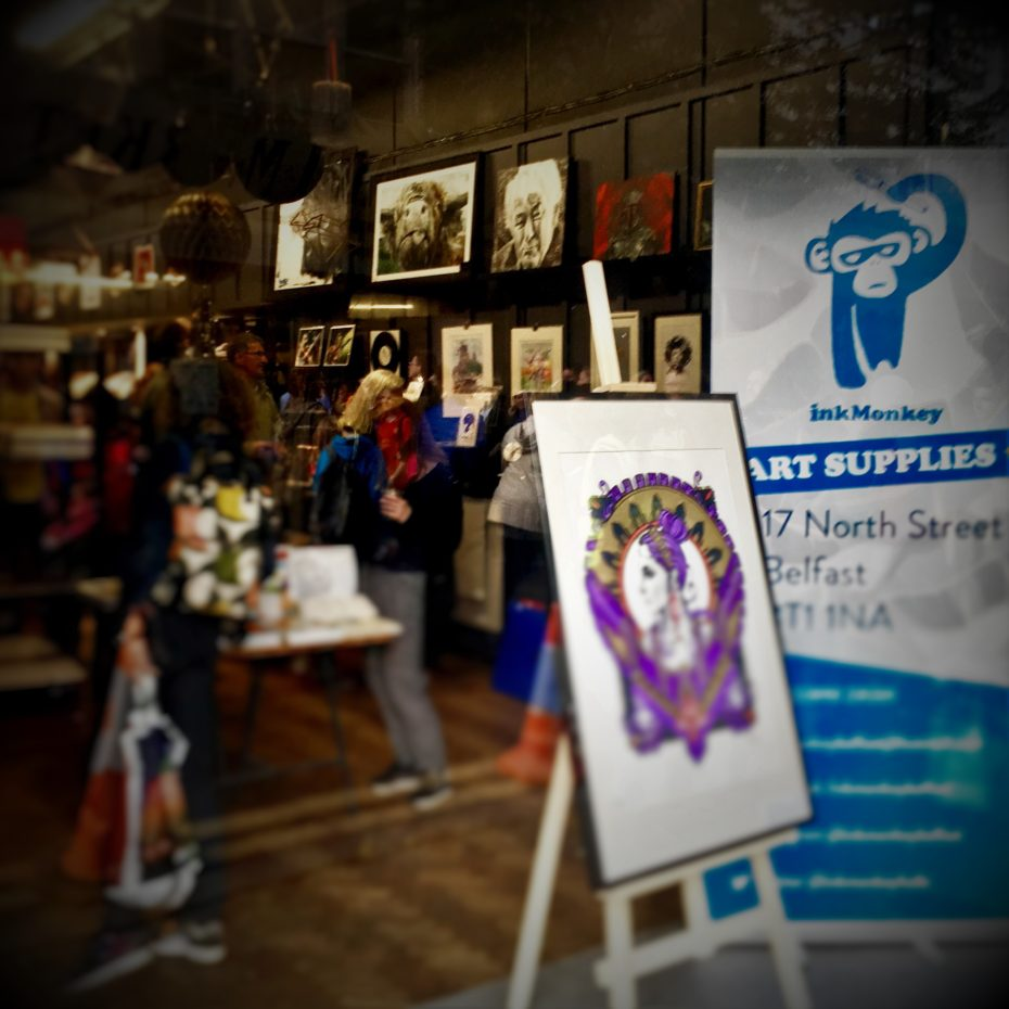 My paintings for sale and on display at Ink Monkey Art Supplies in Belfast on Culture Night 2016