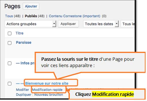 Afficher les liens Modification rapide