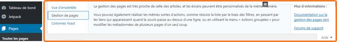 Aide contextuelle WordPress