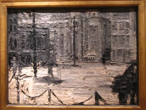 Carreras Factory at Mornington Crescent, Frank Auerbach, 1961, oil on board