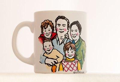 Taza regalo día del padre con el retrato de toda la familia. Personalizada a mano.