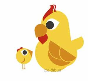 Gallina y polluelo
