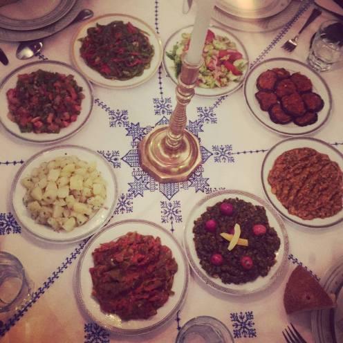 Spinach with lemon, Eggplant caviar (Zaalouq), Baked peppers (Taktouka) ...
