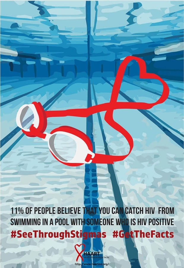 Text on poster 11% of people believe that you can catch HIV from swimming in a pool with someone who is HIV positive. The poster depicts a swimming pool with water and blue stripes on the bottom and goggles with a red stripe on the front.