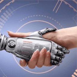 Robot shaking hand with human - AI empowers its users blog by AI Dynamics