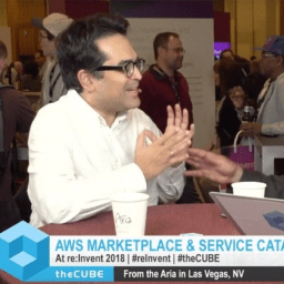 Rajeev Dutt at the 2018 re:invent sitting down with an interviewer