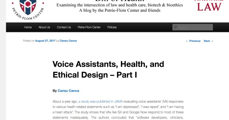 Voice Assistants, Health, and Ethical Design – Part I
