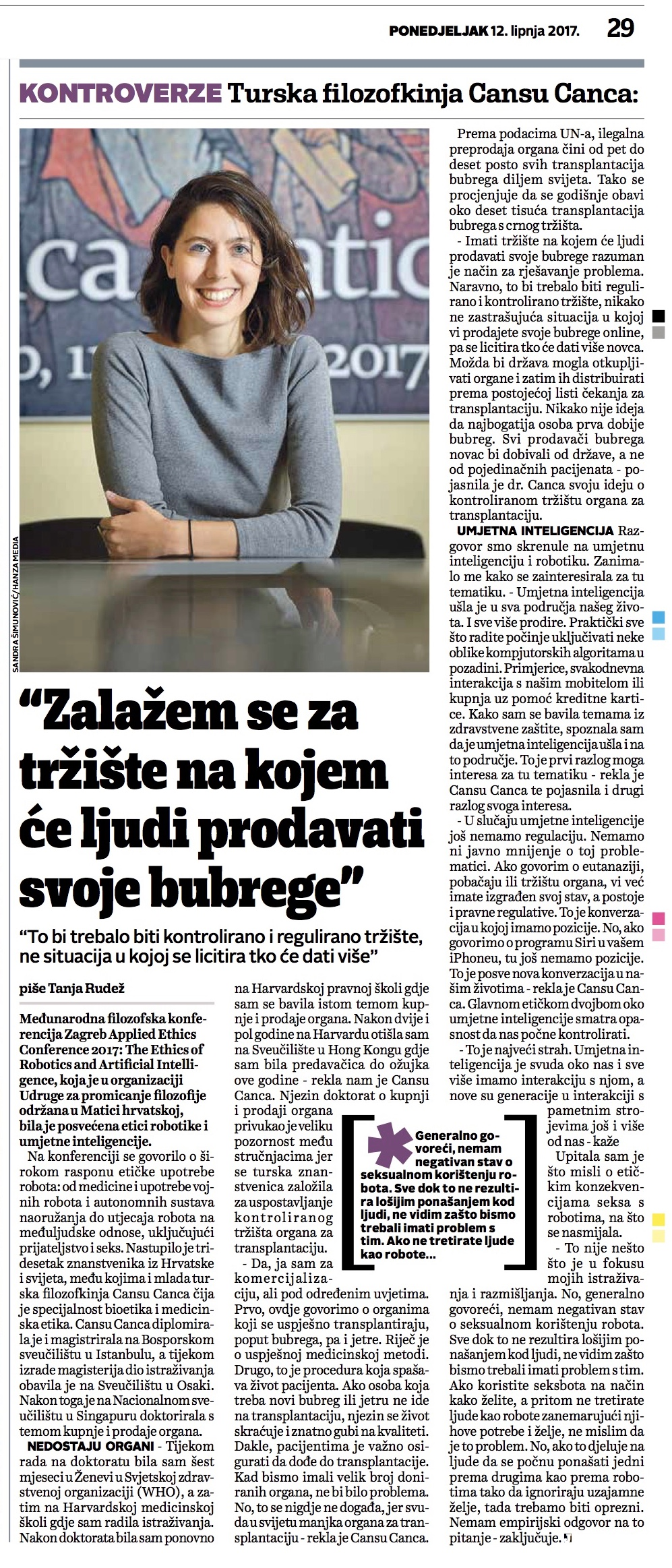 "Interview with ""Jutarnji Life"" in Zagreb"