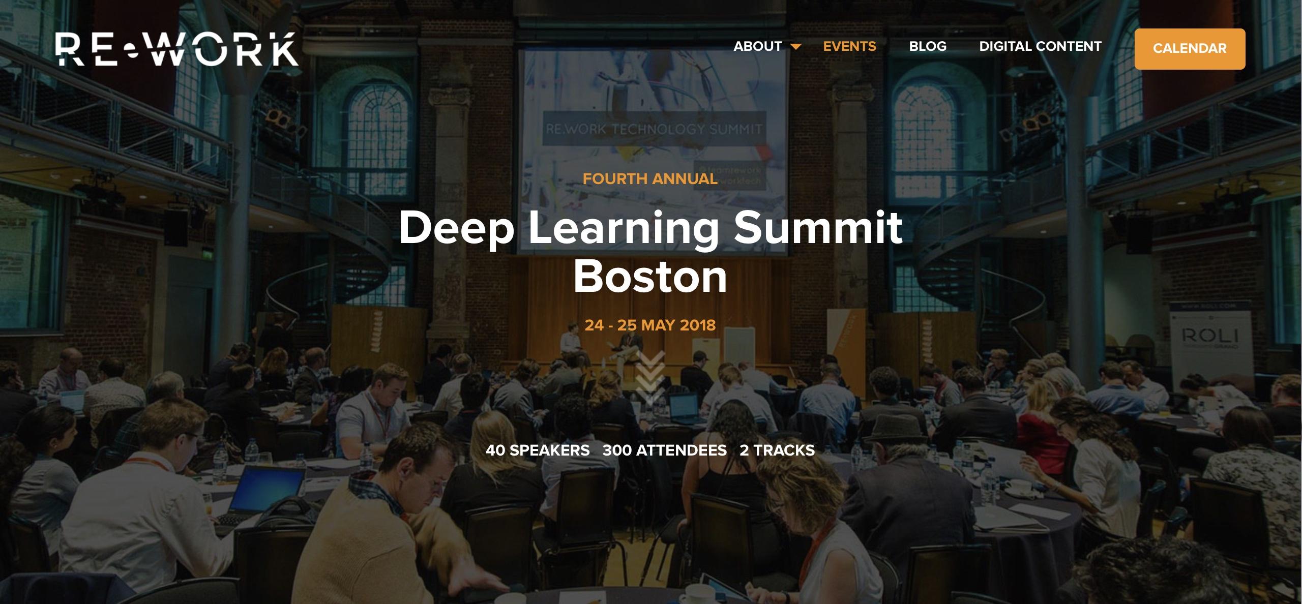 Re-Work Deep Learning Summit Boston – 24-25.5.2018