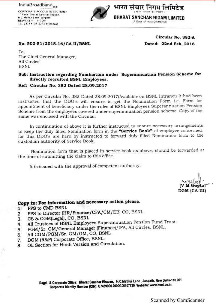 INSTRUCTION FOR NOMINATION UNDER SUPERANNUATION PENSION SCHEME