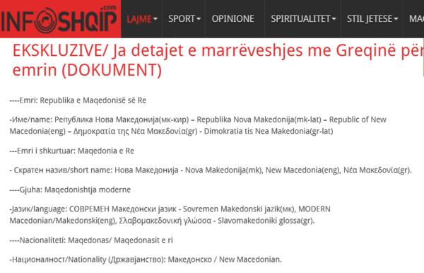 αλβανικό δημοσίευμα