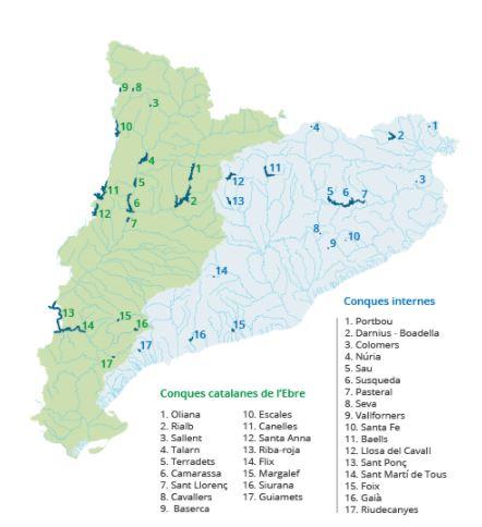 Embassaments a les conques internes de Catalunya i a les conques catalanes de lEbre.