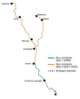 Mapa amb el traçat del col·lector de salmorres