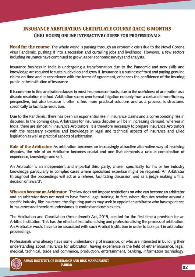 Insurance Arbitration Certificate Course (IACC) - Admission Brochure_Page_2