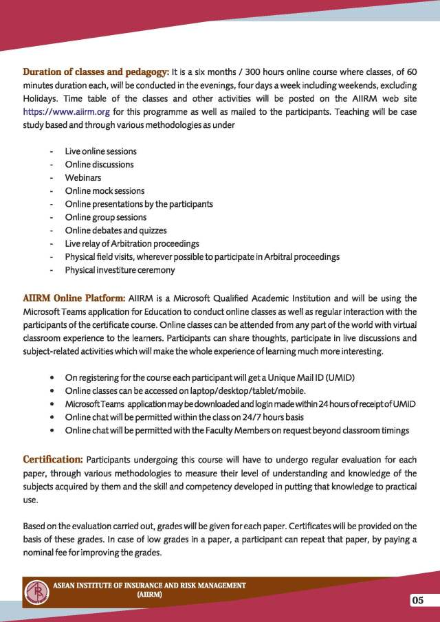 Insurance Arbitration Certificate Course (IACC) - Admission Brochure_Page_5