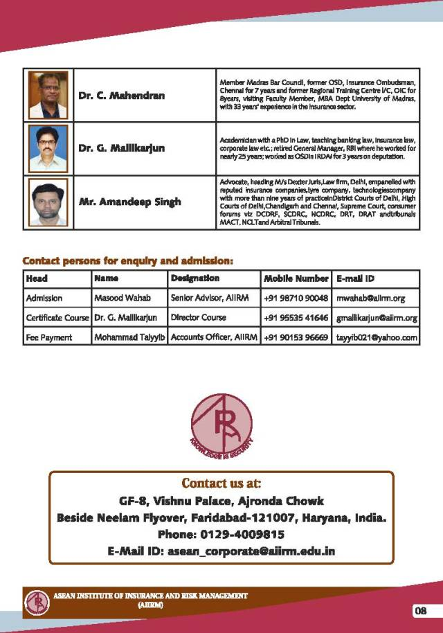 Insurance Arbitration Certificate Course (IACC) - Admission Brochure_Page_8