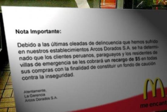mcdonald's argentina cartel discriminador