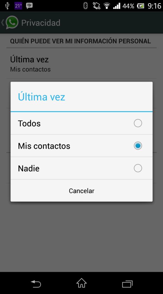 WhatsApp Configuración Privacidad Android