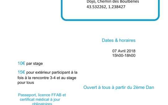 07 Avril 2018 - Rencontres 3ème 4ème dan à Fonsorbes