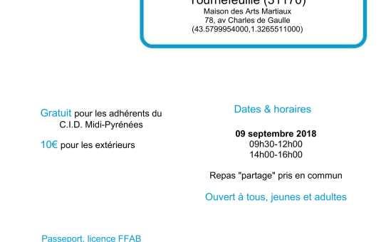 Stage de rentrée - Dimanche 09 septembre 2018 à Tournefeuille