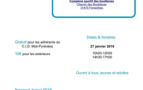 Dimanche 27 janvier 2019 Stage Aïkitaïso à Fonsorbes